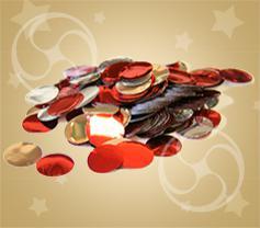 Конфетти металлизированное круглое серебристо-красное (CONFMD02R)