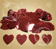 Конфетти металлизированное сердечки красные (CONFM04RD)