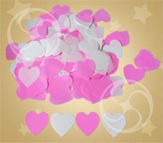 Конфетти полипропиленовое сердечки белые и розовые (CONFP04WHPK)