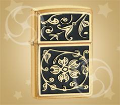ZIPPO Gold floral flourish 'Золотой цветочный орнамент'