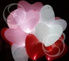 Светящиеся  шары в форме сердца с гелием (Glowing-8)