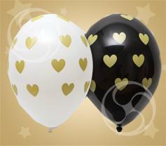 Шар шелкография 'Сердца золотые' 14'