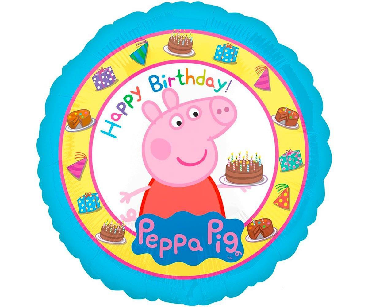 Шар фольгированный 'Happy Birthday!' Пеппа сладкоежка 18'