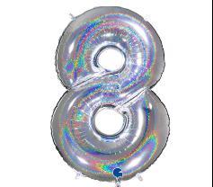 Шар фольгированный цифра '8' Silver голография
