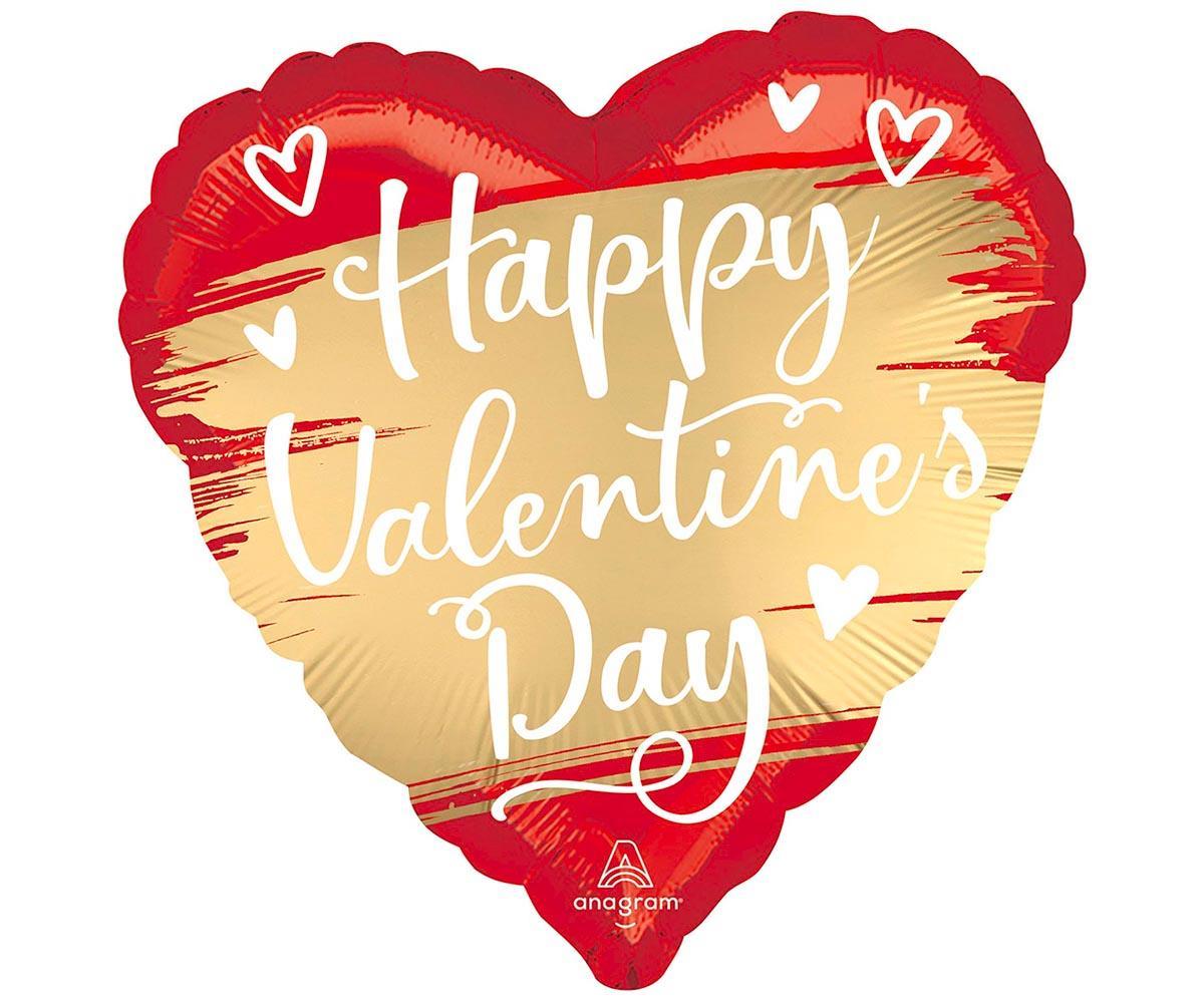 Шар фольгированный 'Happy Valentines day!' сатин красно-золотое 18'