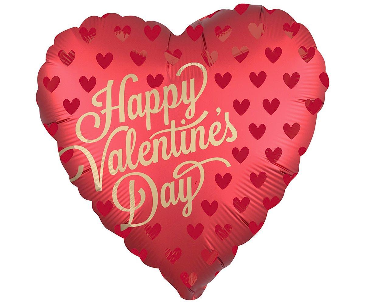 Шар фольгированный 'Happy Valentines day!' сатин сангрия 18'
