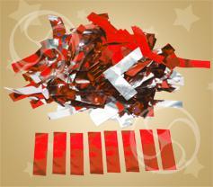 Конфетти металлизированное прямоугольное красное-серебристое (метафан) (CONFMD10RD)