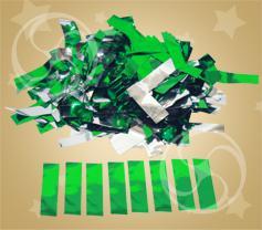 Конфетти металлизированное прямоугольное зеленое-серебристое (метафан) (CONFMD10DG)