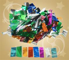 Конфетти металлизированное прямоугольное разноцветное-серебристое (метафан) (CONFMD10MC)