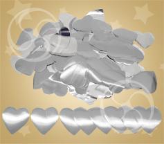 Конфетти металлизированное сердечки серебристые
